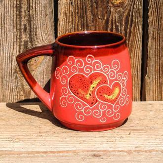 Кухоль 450 мл декор Серце рожеве