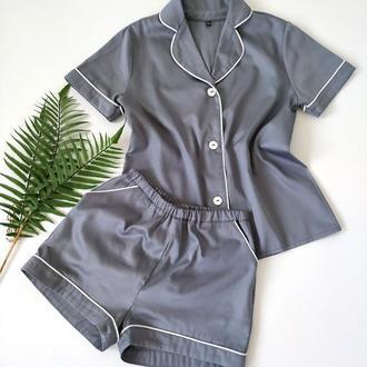 Женская серая пижама с белым кантом
