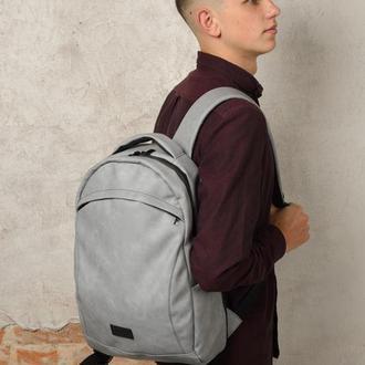 Большой мужской серый рюкзак из нубука для спортзала