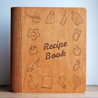 Кулинарная книга рецептов  Деревянная поварская книга для записей