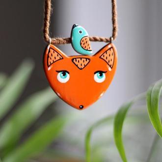 Кулон лисичка из дерева.Ручная роспись.Подарок девушке.подарок детям