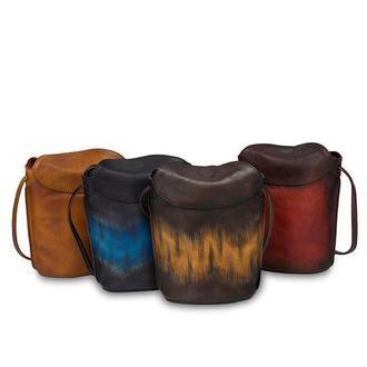 Кожаная сумка ручной работы с рисунком