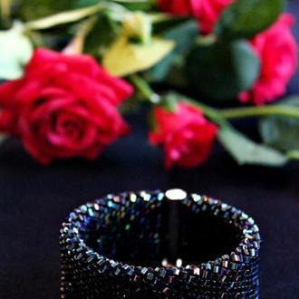 """Широкий браслет-слайдер """"Black night"""". Украшение на выпускной. Стильный подарок племяннице."""