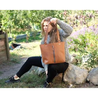 Женская кожаная сумка-шопер