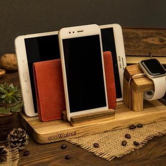 Деревянная подставка органайзер для телефона планшета часов ручек очков из дерева « iPhone Family »