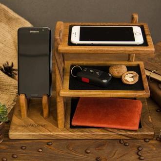 Деревянная подставка органайзер для телефона ключей ручек очков из дерева на подарок мужу парню себе