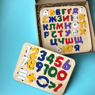 Набір пазлів «Абетка з цифрами кольорова» / Пазл-азбука разноцветные и цифры