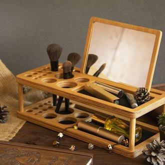 Деревянный органайзер для косметики кистей кисточек макияжа большой из дерева с большим зеркалом