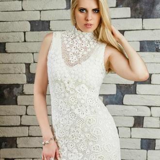 Короткое свадебное платье крючком