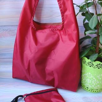 """Сумка-пакет """"маечка"""" для покупок с чехлом, эко сумка, торба, сумка шоппер,бордо"""