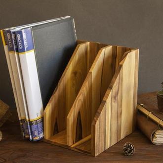 Деревянная подставка  органанайзер для документов бумаг из дерева