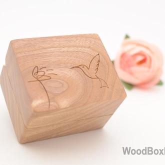 Деревянная коробочка шкатулка футляр для помолвочного кольца, колец