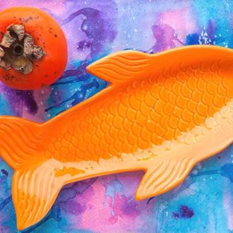 """Тарелка ручной работы. Рыба """"Славик""""."""