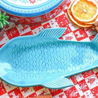 """Тарелка ручной работы. Рыба """"Славик"""". Большая - 25х13 см."""