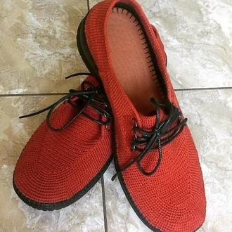 Туфли из итальянской пряжи. Цвет терракот.