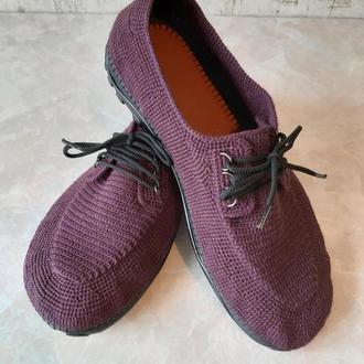 Туфли из италянской пряжи. Цвет бордо+фиолет (меланж)