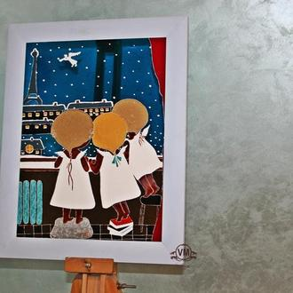 Витражная картина «Окно в Париж»