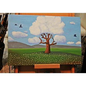 "Картина маслом ""Дерево в хмарах"""