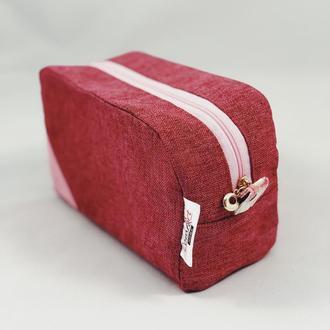 Текстильная косметичка, дорожная косметичка, косметичка для путешествий. Розовая косметичка.