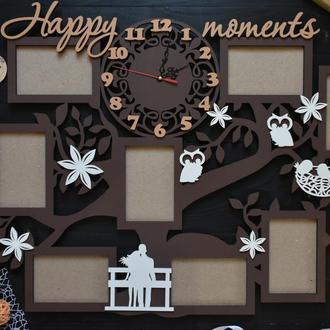 "Семейная фоторамка с часами ""Happy moments"", из дерева"