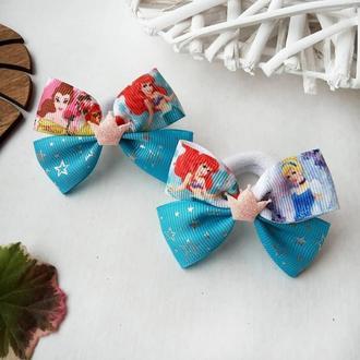 Бантики с принцессами резинки золушка ариель резинка бант для волос заколки