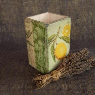 Деревянный стакан-органайзер для кухонных принадлежностей в стиле Прованс «Оливки и Лимоны»