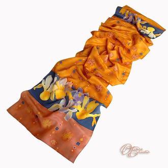 """Шелковый шарф """"Ирисы"""""""