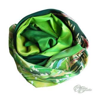 """Шелковый шарф-палантин """"Травы"""""""