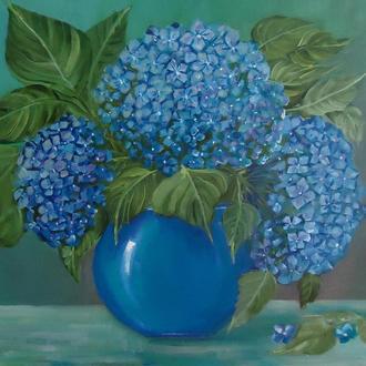 """Картина букет цветов маслом """"Гортензии"""""""