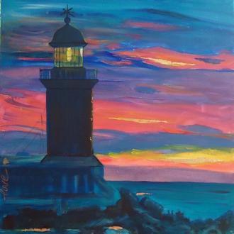 Картина акрилом абстрактный пейзаж с маяком