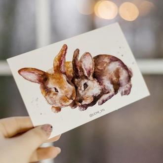 Открытка кролики