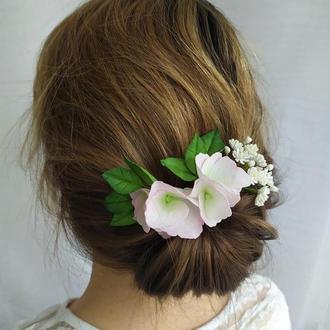 3 Шпильки для волос с гортензией, Цветы ручной работы, Аксессуары для волос