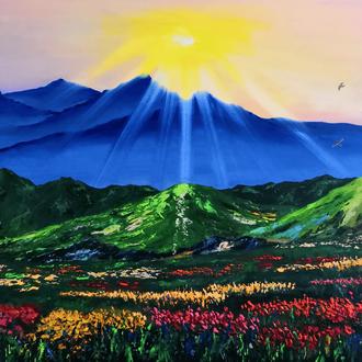 """""""Сонце в горах"""", полотно 50х60см, гірський пейзаж, Рябкова Людмила"""