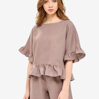Льняная пижама с рюшами цвета мокко