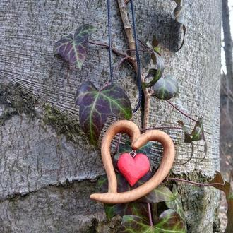 "Кулон, подвеска, амулет из дерева "" Сердце "". Wooden pendant heart! Necklace"
