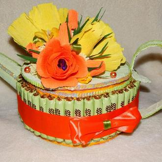 Чайник-шкатулка из конфет