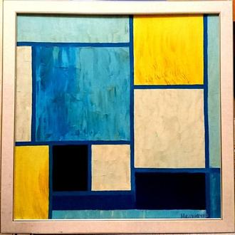 "Картина ""Желто-голубая"". Абстракция. Картина масляными красками"