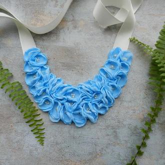 Блакитне кольє , квіткове кольє , шифонова кольє з квітами