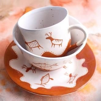 Набор с наскальными оленями. Чашка, миска и тарелка.