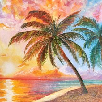 """Картина маслом """"Тропический закат"""" 20×30 см,  Пейзаж, Морской пейзаж"""