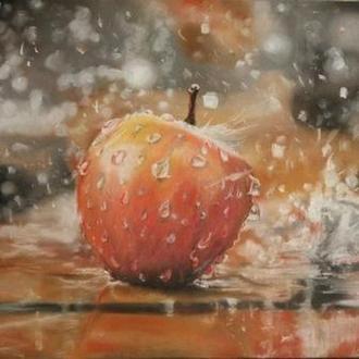 "Картина пастеллю, картон. ""Яблуко, літо"""