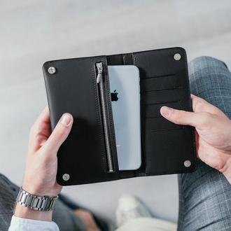 Кожаный именной кошелек, мужской кошелек, кошелек для купюр. подарок мужчине, кожаное портмоне