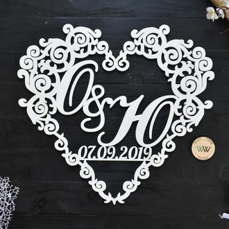 Свадебная монограмма в виде сердца  / Инициалы с датой на свадьбу / Семейный герб, из дерева