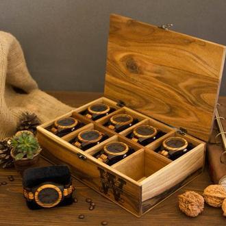 Деревянный органайзер подставка бокс кейс шкатулка для хранения наручных часов из дерева на подарок