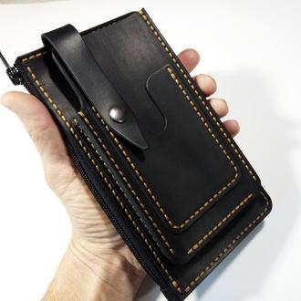 Органайзер кожаный с чехлом для телефона.