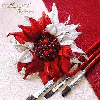 Брошь-цветок из кожи «MaryS Leather Accessories» от Cтудии аксессуаров Марии Суслиной