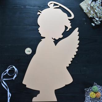 Ангел для фотозоны, таинство крещения из дерева, в белом цвете / янгол