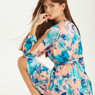 Платье из струящейся шелковой ткани в цветочный принт
