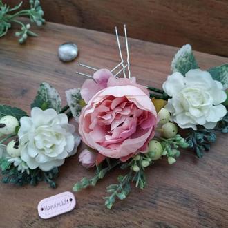 Шпильки для волос Пудра свадебные Шпильки с цветами Украшение для прически невесты