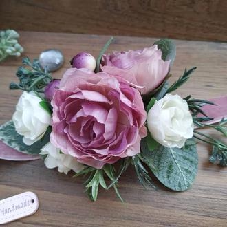 Бутоньерка на руку Ледяная роза Бутоньерка для свидетельницы Цветочный браслет